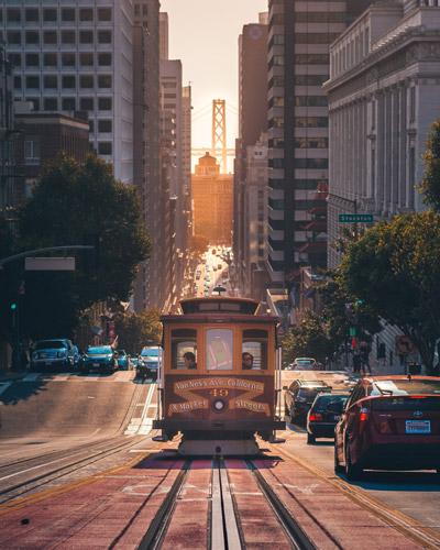 Trolley car on street